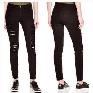 FRAME Denim Black Le Skinny De Jeanne Ripped Jeans
